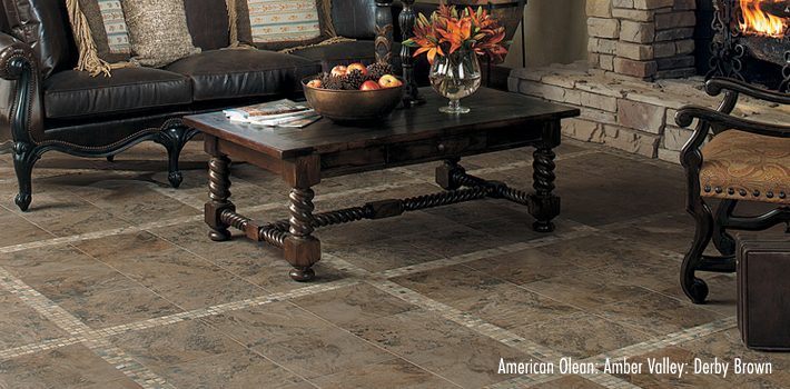 Ceramic Flooring: Amber Valley in Derby Brown Ceramic Tile by American Olean