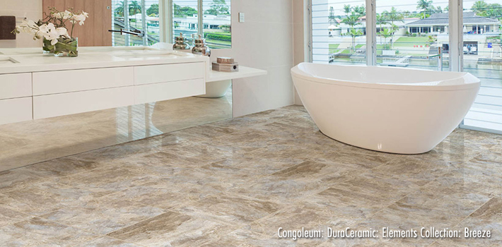 Vinyl Flooring: DuraCeramic Elements Luxury Vinyl Tile in Breeze by Congoleum
