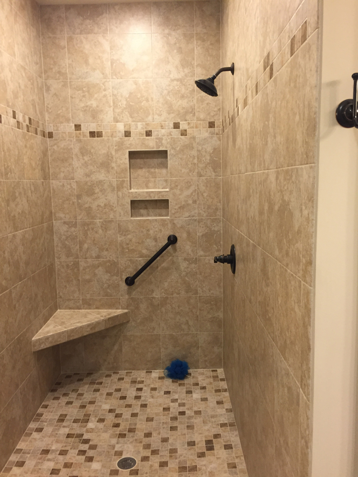 Custom Shower: American Olean 12×12 tiles, 3×12 bullnose tiles and 2×2 mosiac tiles