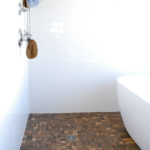 "3""x6"" Subway Tile and 2""x2"" Wood Look Porcelain Tile"