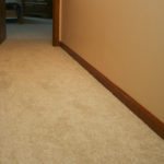 Shaw textured cut pile carpet installed in hallway