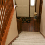 Shaw textured cut pile carpet installed on stairs